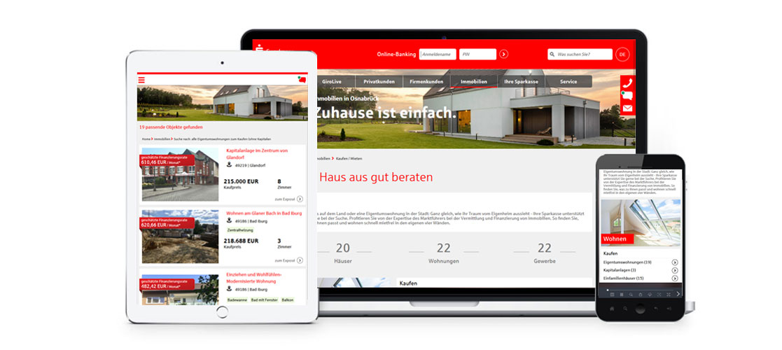 Immobilienmodul responsive Darstellung