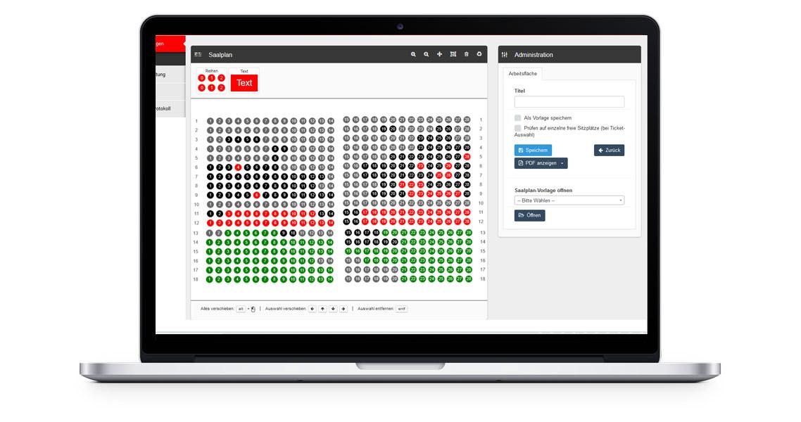 Backend – Hinterlegung Plätze und Preisgruppen im Saalplan